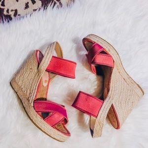 Nine West Pink Espadrille Wedges / Sandals, Size 8